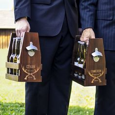 The hunt is over but the party is just getting started when your best man and groomsmen receive their personal rustic wood beer bottle 6 pack carrier personalized with crossing antlers design, name, title, and wedding date. Featuring rustic finish, steel carrying rod, and zinc bottle cap opener, the guys in your wedding party will be anxious to use their personal beer carrier:  http://myweddingreceptionideas.com/personalized-groomsmen-antlers-beer-bottle-carrier.asp