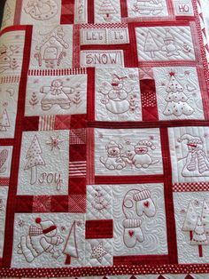 vintage redwork feedsack quilt (made with lecien fabrics) I love Amy and her incredible patchwork factory she seems to run! baby animals quilt with embroidery by nanaCompany Vintage redwork feedsack quilt - inspiration for my embroidered squares! Crazy Quilting, Colchas Quilting, Machine Quilting, Quilting Projects, Quilting Designs, Quilting Ideas, Machine Embroidery, Embroidery Designs, Quilt Studio