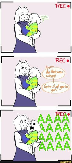undertale, funny, comic, toriel, asgore asriel learns to . . . roar? Bleat…