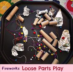 F is for Fireworks Tuff Spot firework loose parts play Fireworks tuff tray with loose parts play for imaginative and sensory play. Diwali Activities, Eyfs Activities, Nursery Activities, Autumn Activities, Creative Activities, Painting Activities, Bonfire Night Activities, Bonfire Night Crafts, Sensory Play