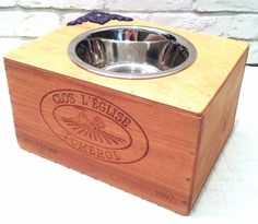 Sale! - Elevated Wine Crate Pet Feeder - Single Large Pet Bowl by RagsIIRiches on Etsy https://www.etsy.com/listing/107803885/sale-elevated-wine-crate-pet-feeder