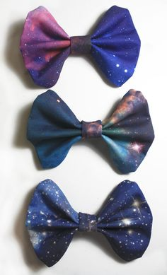 Galaxy Hair Bows, though I suppose they could also be bowties. Such coolness.