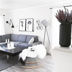 Living room styling by the lovely @linemor78 featuring our natural coloured giant Icelandic sheepskin rug