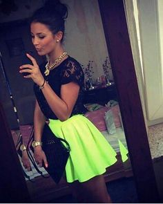 neon peplum skirt and lace black shirt Only Fashion, Love Fashion, Spring Fashion, Girl Fashion, Fashion Outfits, Womens Fashion, Night Outfits, Summer Outfits, Cute Outfits