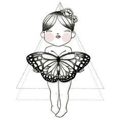La princesa tatuada .- Ilustración original. Tinta y acuarela. 23x23 cm