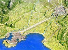 Atenas, com destaque para o porto do Pireo
