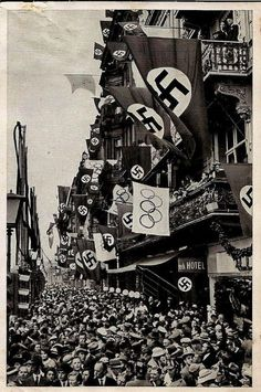 This is a picture of Berlin in 1936. It shows the influence and effect that Nazism had on Germany and it's citizens. Adolf Hitler's confidence and passion had won the hearts and minds of Germany, so much so that the Nazi party became the only party in Germany.