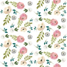 """August Floral in White - 4"""" fabric by shopcabin on Spoonflower - custom fabric"""