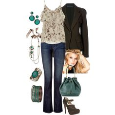 """Brown/Cream/Teal"" by manda3482 on Polyvore"