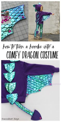 Halloween dragon costume from a hoodie DIY tutorial Fabric Art DIY # déguiseme… - New Ideas - Crafts - Halloween dragon costume from a hoodie DIY tutorial Fabric Art DIY # déguiseme New Ideas - Halloween Kostüm, Family Halloween, Halloween Recipe, Women Halloween, Halloween Makeup, Halloween Projects, Halloween Tutorial, Halloween Costumes For Children, Halloween College