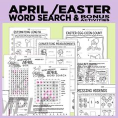 April's Spring word search includes 2 levels of difficulty & extra activities. There's a secret message to be revealed in the word search once students find all the words.   Extras include: -Coin count -Missing Addends -Estimating length -Estimating (choosing the best unit of measurement) -Convert Measurements (feet to inches) -Egg hunt (following directions on a map)  -Word search -Reading readiness -Writing Prompts