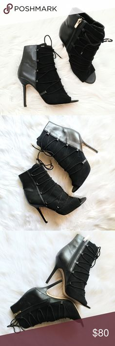 """New Sam Edelman Asher Open Toe Bootie Slim laces accentuate the sleek, modern profile of a suede-crafted open-toe bootie set on a lofty stiletto heel.  Condition: new, never worn, no box Size: 9.5  - Open toe - Suede and faux leather construction - Lace-up front with side zip closure - Approx. 5"""" shaft height - Approx. 4.25"""" heel Materials: Leather and synthetic upper, synthetic lining and sole Sam Edelman Shoes Ankle Boots & Booties"""
