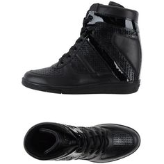 Dirk Bikkembergs Sneakers ($211) ❤ liked on Polyvore featuring shoes, sneakers, black, hidden wedge shoes, black wedge heel sneakers, black shoes, black wedge sneakers and black leather shoes