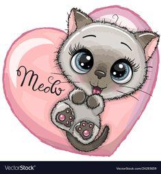 Cute Cartoon Kitten with big blue eyes is lying on a heart Illustration , Cartoon Cartoon, Kids Cartoon Characters, Kitten Cartoon, Cute Cartoon Girl, Cartoon Images, Cute Eyes, Big Eyes, Cute Images, Cute Pictures