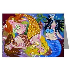 Mermaids Party Whimsical Fun Folk Art Blank by reniebritenbucher, $23.99