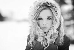 Black and white. Blurry background. Beautiful winter picture