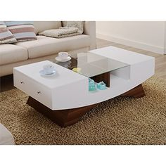 Furniture Of America Shandy Two Tone Glass Top Coffee Table White & Walnut - table - Design Rattan Furniture Sofa End Tables, Coffee And End Tables, Glass Top Coffee Table, Coffee Table With Storage, Modern Coffee Tables, Glass Table, Centre Table Design, Center Table, Table Furniture