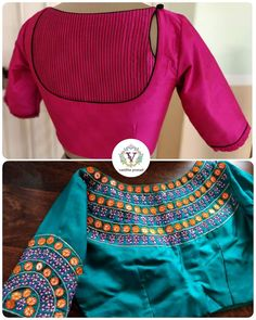 Patterns and embellishments!at vanitha prasad . Beautiful pink color trendy blouse and sea green color bridal designer blouse with floral design hand embroidery thread and mirror work.