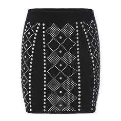 SheIn(sheinside) Black Silver Bead Geometric Pattern Bodycon Skirt ($13) ❤ liked on Polyvore featuring skirts, black, short skirts, beaded skirt, vintage skirts, black beaded skirt and black skirt