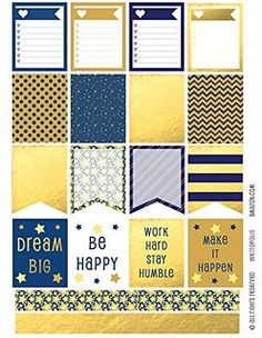 Planner & Journaling Printables ❤  Monthly Planner Stickers Blue and Gold Tone Boxes & Strips Stickers Planner Labels Compatible with Erin Condren Vertical Life Planner