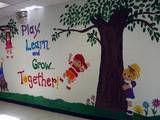 School entrance wall mural I painted photo School Entrance, School Hallways, School Murals, School Wall Decoration, School Decorations, Sunday School Rooms, School Displays, Wall Drawing, Beginning Of School