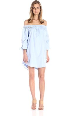 Lucca Couture Women's Off Shoulder Dress with Bow Tie Sleeves, Powder Blue, X-Small Best Price