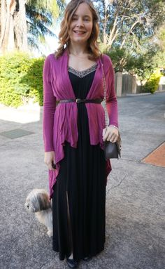 Maxi Dress in Autumn - belted purple cosy cardigan black ballet flats RM Love bag