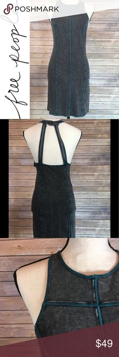 NWT Free People Charcoal Bodycon dress with teal NWT Free People Charcoal Bodycon dress with teal. Fabric is stretchy and easy the wear. Perfect condition. Intimately FreePeople line. Free People Dresses