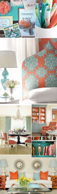 Turquoise & coral decor inspiration (that headboard pattern!) [Coral Radiance in wallpaper pattern] Decor, Room, Color Schemes, Coral Living Rooms, New Living Room, Home Decor, Office Colors, Office Color Schemes, Coral Decor