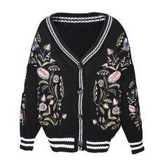Black Floral Embroidered Ribbed Trim Cardigan (967.250 IDR) ❤ liked on Polyvore featuring tops, cardigans, cardigan top, flower embroidered top and floral embroidered top