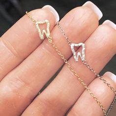 Tiny Tooth Necklace or Bracelet Boxed Gift - Gold Plated Sterling Silver - Simple, Hypo-Allerge Dental Hygiene Student, Dental Assistant, Dental Hygienist, Dental Jewelry, Dental Shirts, Dental Life, Gifts For Dentist, Tooth Necklace, Bracelet Box