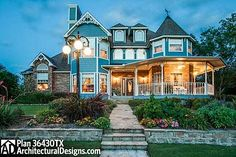 House Plan 36430TX, a 3 bedroom Victorian with 2-story living room