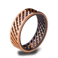 Gold Wedding Band, Men's 18K Rose Gold and Oxidized Silver Wedding band, steampunk, Wedding ring, black and gold ring, groom band, Grid 3