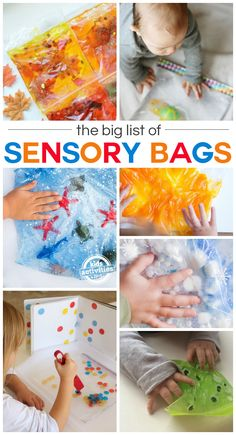 Have you tried making your kids sensory bags? Kids love playing with them and they are easy to make. Plus, there are endless possibilities. If you're looking for inspiration or a new idea to try, here is a huge list of sensory bags t Baby Sensory Play, Baby Play, Diy Sensory Toys For Babies, Baby Sensory Bags, Sensory Games, Sensory Bins, Infant Activities, Preschool Activities, Activities With Toddlers
