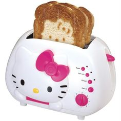 Anyone that knows me knows I love everything Hello Kitty. This toaster I really love! Not only is it the actual toaster look cute, but it makes a Hello Kitty design on your toast! One of the cutest toasters I have ever seen!