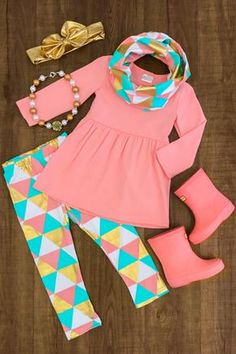 Fall & Back to School Outfits - Fall & Back to School Outfits Turquoise & Coral Triangle 3 Pc. Kids Outfits Girls, Little Girl Outfits, Cute Outfits For Kids, Little Girl Fashion, Toddler Girl Outfits, Toddler Fashion, Baby Outfits, Kids Fashion, School Outfits