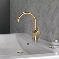 Delta Trinsic Single Hole Bathroom Faucet with Drain Assembly and Diamond™ Seal Technology Finish: Brilliance Champagne Bronze Bathroom Red, Steam Showers Bathroom, Bathroom Ideas, Master Bathrooms, Bathroom Interior, Bathroom Organization, Washroom, Bathroom Inspiration, Bathroom Fixtures
