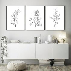 Rustic Wall Clocks, Rustic Walls, Dining Room Wall Decor, Bedroom Decor, Copper Lounge, Botanical Line Drawing, 3 Piece Wall Art, Diy Artwork, Black And White Prints
