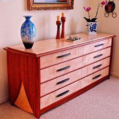 Handmade Eight Drawer Dresser In Curly Maple & Bubinga