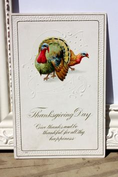 Antique Thanksgiving Embossed Postcard by by onestrangegirl, $3.50