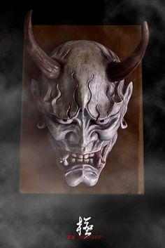 Hannya mask white with fog by pochishen on DeviantArt