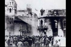Santafé de Bogotá - Hotel Regina en llamas y ruinas el 9 de Abril de 1948 durante el Bogotazo. (Cra.7 Cl.16)