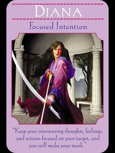 The meaning of the Diana card from the Goddess Guidance Oracle Cards by Doreen Virtue. Wicca, Magick, Angel Guidance, Spiritual Guidance, Artemis Goddess, Moon Goddess, Oracle Tarot, Oracle Deck, Angel Cards
