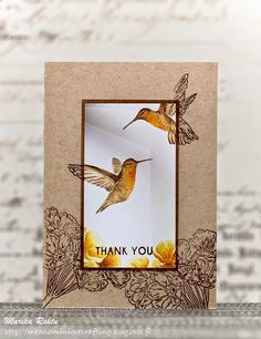 handmade card from Me and Minime crafting ... lifelike hummingbirds ... luv the water colored panel ... kraft background with tone on tone stamping ... luv it!