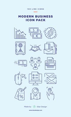 Modern Business Icons Set made by iStar Design. Series of 100 pixel-perfect icons, created by influence of modern business and finance. Neatly organized icon, file and layer structure for better workflow experience. Carefully handcrafted icons usable for digital design or any possible creative field. Suitable for print, web, symbols, apps, infographics.
