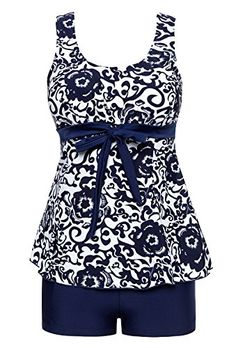 fb861abe656 Zando Womens Plus Size Swimdress Classic Floral Printed Beachwear Two Piece  Swimwear Swimsuits with Short Ethnic Navy Blue Floral US -- To view further  for ...