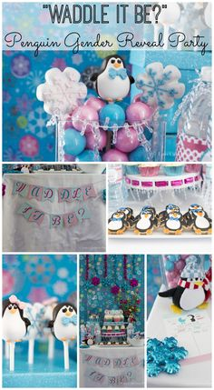 """Waddle it Be?"" gender reveal baby shower, great idea for winter! See more party ideas at CatchMyParty.com. #babyshower #genderreveal #penguin"