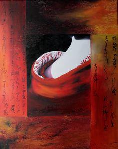 "Geisha painting - oil painting ""aki""   size 72x93 cm  Price : 1450€"