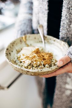 Toasted Coconut Breakfast Porridge - a wholesome and cozy breakfast recipe with quinoa, oats, coconut milk, and one surprise ingredient! | pinchofyum.com