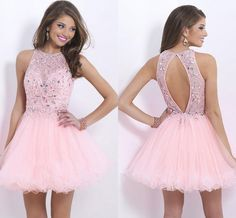 Gorgeous Pink Short Homecoming Dresses 2015 Vintage Crew Neck Backless Shining Crystals Beaded Ruffles Tulle Formal Party Gowns